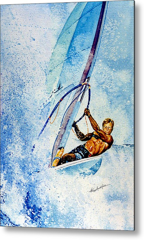 Surfing Metal Print featuring the painting Cutting The Surf by Hanne Lore Koehler