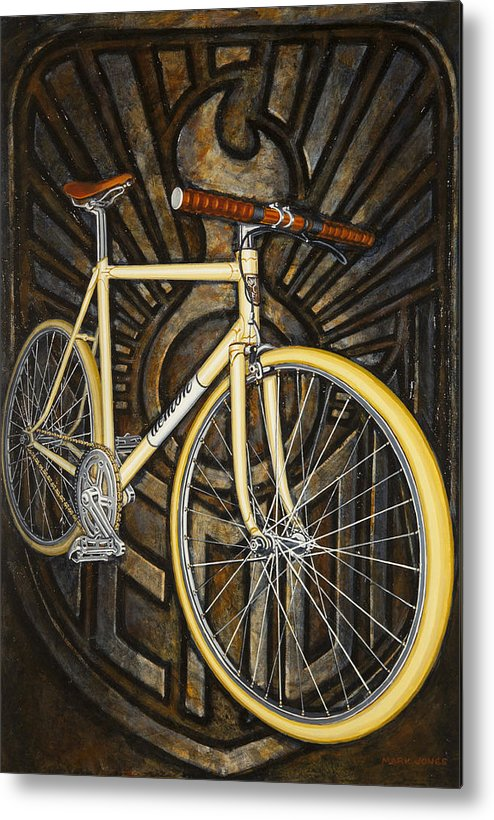 Bicycle Metal Print featuring the painting Demon Path Racer Bicycle by Mark Howard Jones
