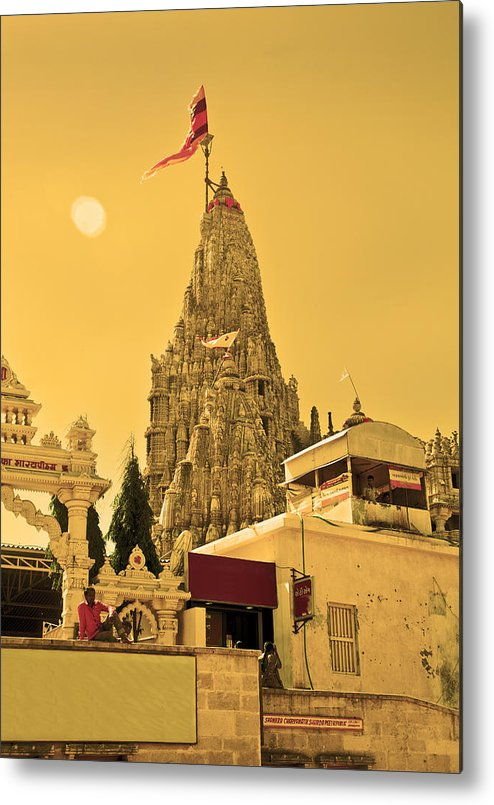 Vertical Metal Print featuring the photograph Dwarka Krishna Temple by Kantilal Patel