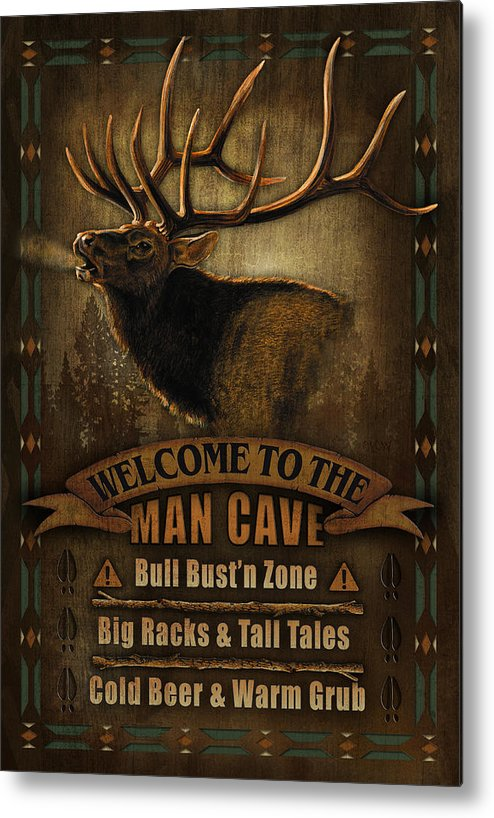Joe Low Metal Print featuring the painting Elk Man Cave Sign by JQ Licensing