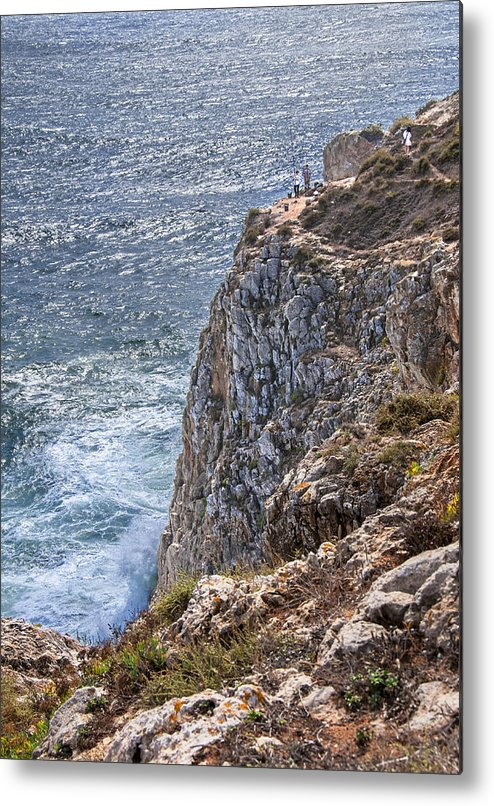Portugal Metal Print featuring the photograph Fishing On The Cliffs by Alida Thorpe