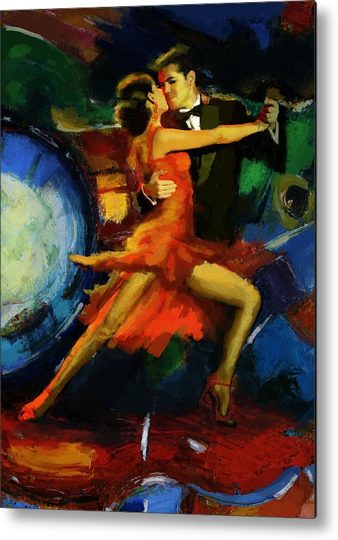 Jazz Metal Print featuring the painting Flamenco Dancer 029 by Catf