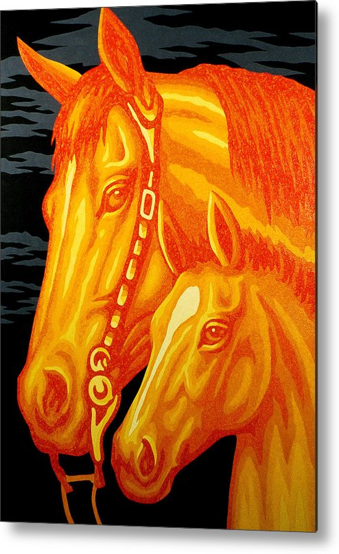 Horse Metal Print featuring the painting Golden Madonna And Child by Steve Fields