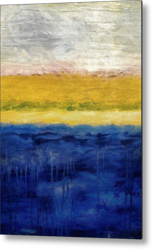 Oceanside Metal Print featuring the painting Lapis And Gold Get Married by Michelle Calkins