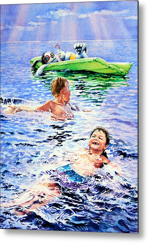 Boys Swimming Painting Metal Print featuring the painting Lazy Hazy Crazy Days by Hanne Lore Koehler