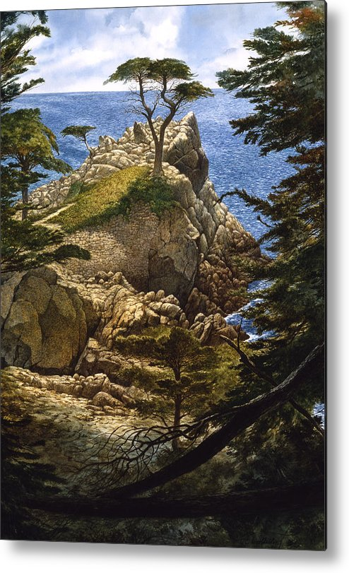 Seascape Metal Print featuring the painting Lone Cypress by Tom Wooldridge