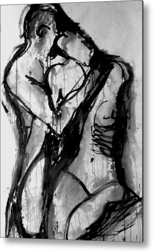 Couple Metal Print featuring the painting Love Me Tender by Jarmo Korhonen aka Jarko