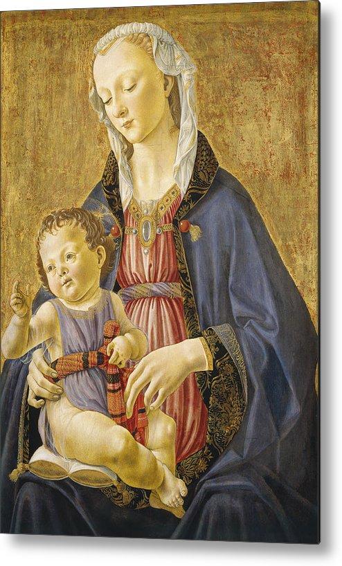Virgin; Mary; Jesus; Christ; Gold; Renaissance Metal Print featuring the painting Madonna And Child by Domenico Bigordi Domenico Ghirlandaio
