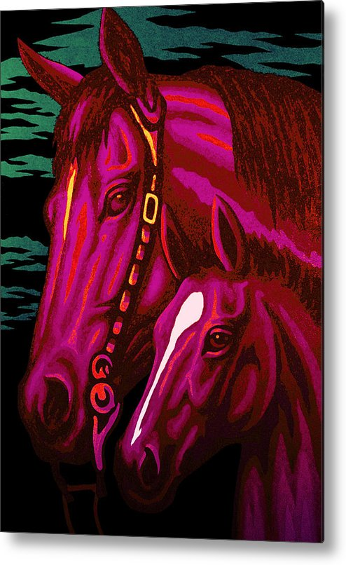 Horse Metal Print featuring the painting Magenta Madonna And Child by Steve Fields