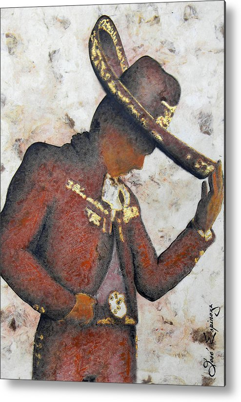 Charros Metal Print featuring the painting M A R I A C H I . II by J - O  N  E