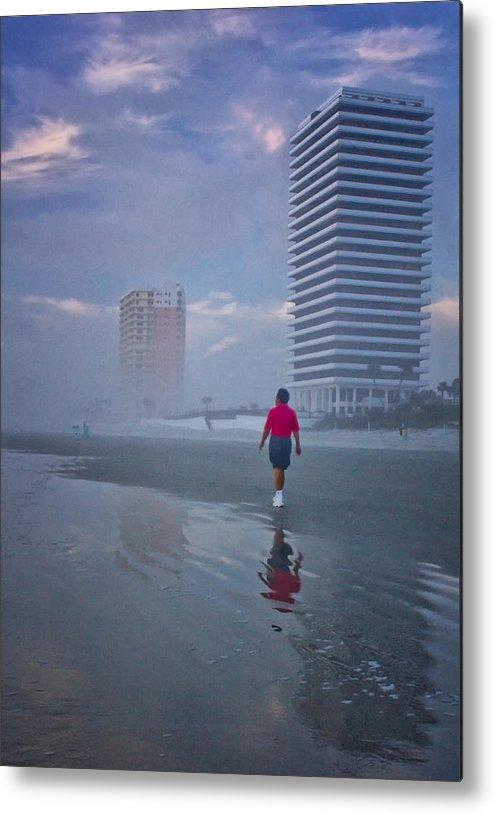 Daytona Metal Print featuring the digital art Misty Walk On Daytona Morning by Georgianne Giese
