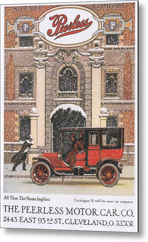 1910�s Metal Print featuring the drawing Peerless 1910s Usa Cars Winter Snow by The Advertising Archives