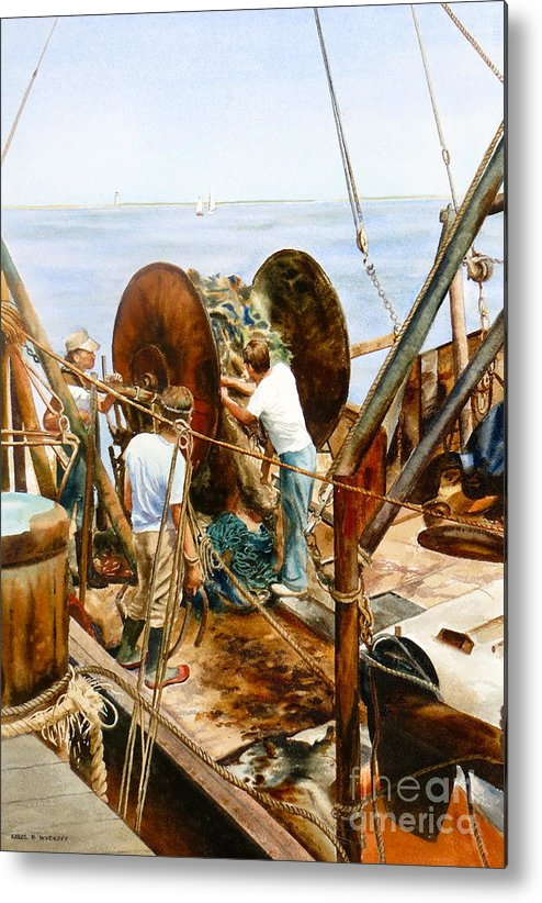 Fishermen Metal Print featuring the painting Preparing The Nets by Karol Wyckoff
