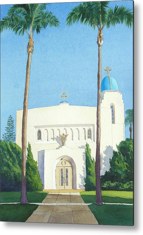 Sacred Heart Metal Print featuring the painting Sacred Heart Church Coronado by Mary Helmreich