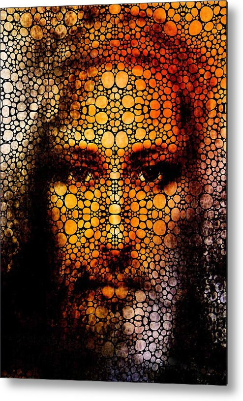 Jesus Metal Print featuring the painting Savior - Stone Rock'd Jesus Art By Sharon Cummings by Sharon Cummings