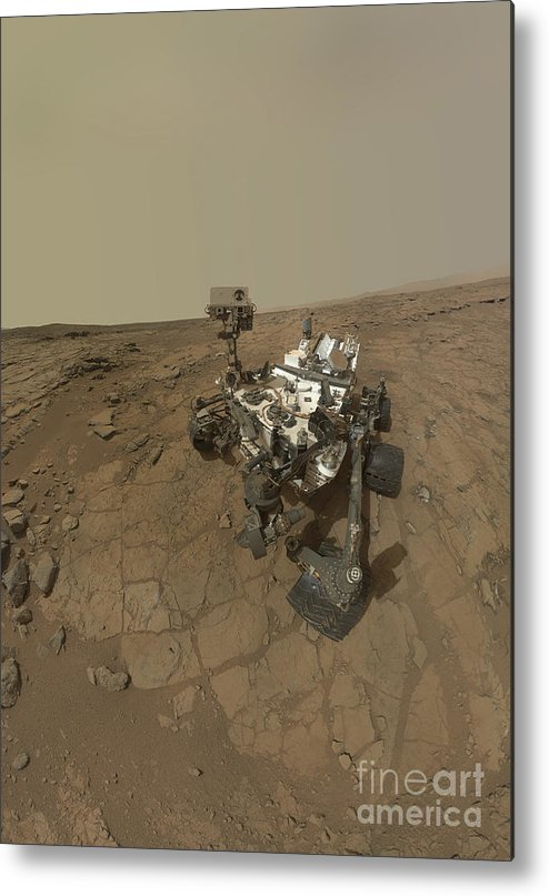 Vertical Metal Print featuring the photograph Self-portrait Of Curiosity Rover by Stocktrek Images