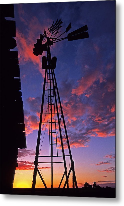 Usa Metal Print featuring the photograph Sunset Windmill by Doug Davidson