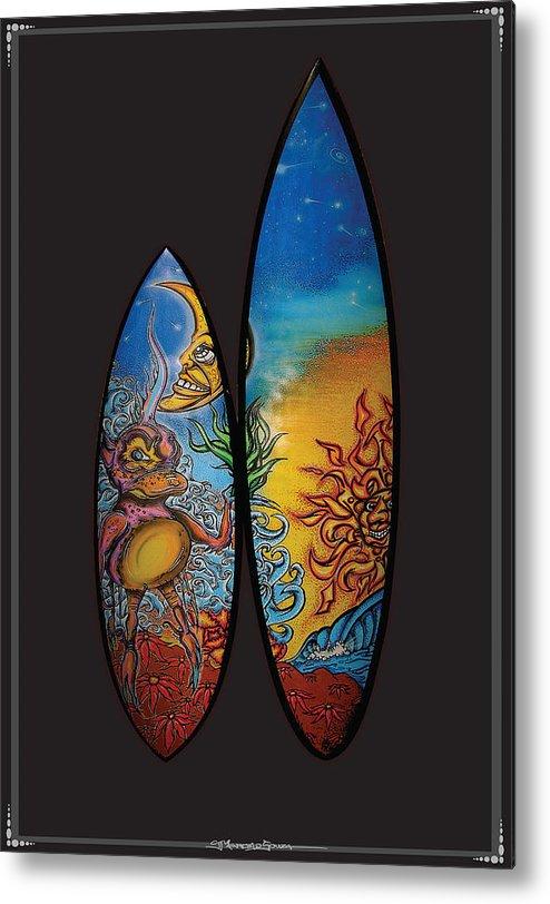 Surfart Metal Print featuring the mixed media Surfboard Art Sun Moon by MarceloSouza TattoosnGraphx