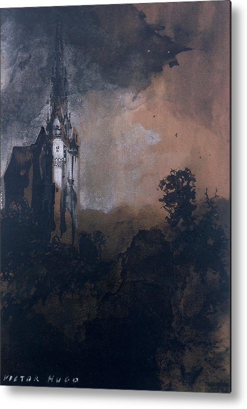 Victor Hugo Metal Print featuring the painting The Castle In The Moonlight by Victor Hugo