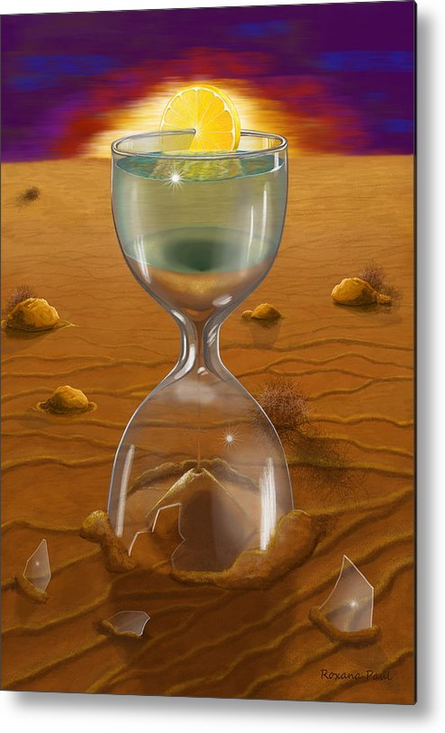 Sand Clock Metal Print featuring the digital art The Time Of Creation by Roxana Paul