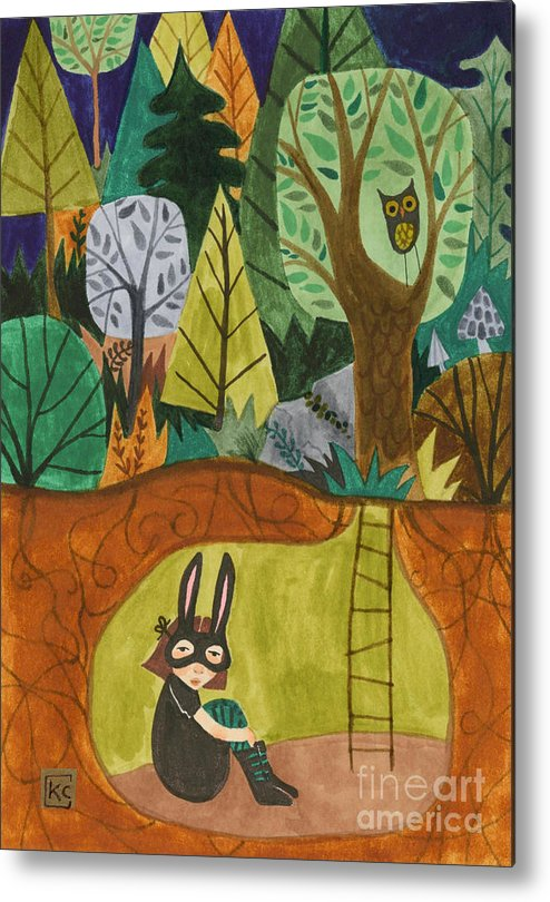 Bunny Mask Metal Print featuring the painting Underground by Kate Cosgrove