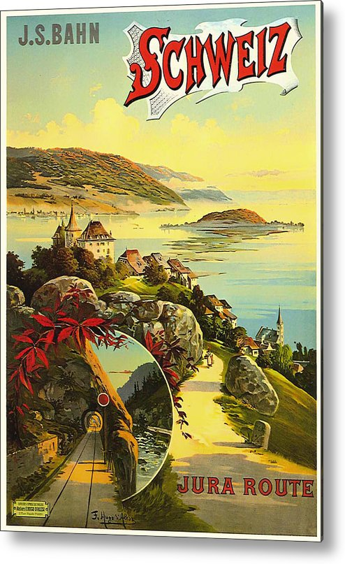 Switzerland Metal Print featuring the drawing Visit Switzerland 1895 by Mountain Dreams