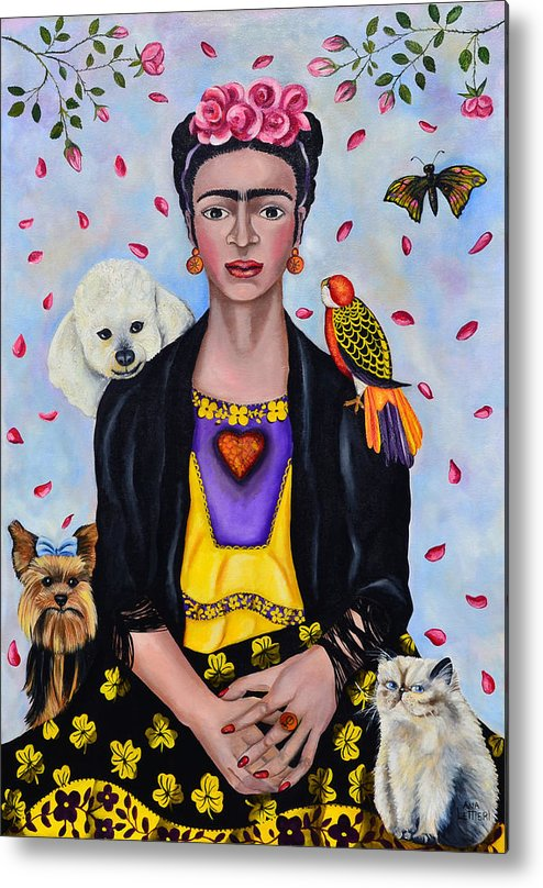 Lovely Portrait Inspired By Mexican Painter Frida Kahlo. Painting By Ana Lettieri Metal Print featuring the photograph Waiting For Love. Esperando El Amor. by Fernando Barozza