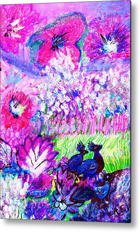 Flowers Metal Print featuring the painting What Do The Birds See by Anne-Elizabeth Whiteway