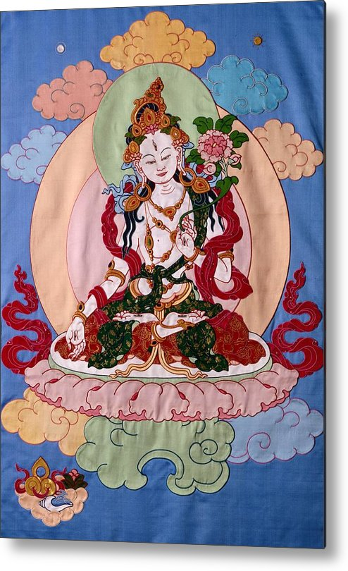 Longevity Metal Print featuring the tapestry - textile White Tara by Leslie Rinchen-Wongmo
