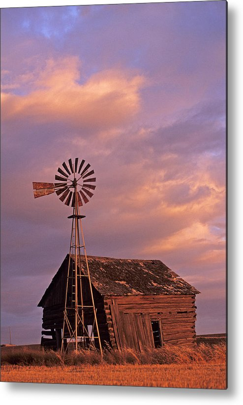 Outdoors Metal Print featuring the photograph Windmill And Barn Sunset by Doug Davidson