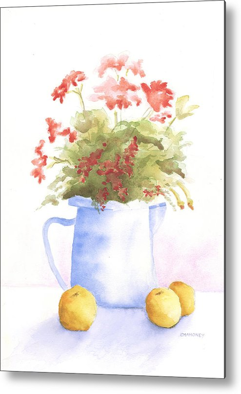 Flowers Metal Print featuring the painting Flowers And Lemons by Susan Mahoney