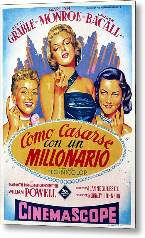 1950s Poster Art Metal Print featuring the photograph How To Marry A Millionaire, Betty by Everett