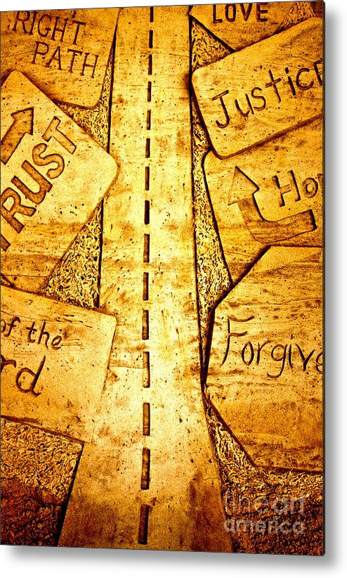 Sand Art Metal Print featuring the pyrography It's A Long Road by Ted Wheaton