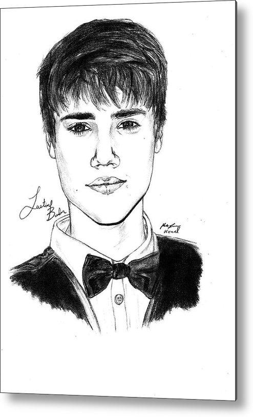 Justin Bieber Suit Drawing Metal Print featuring the drawing Justin Bieber Suit Drawing by Kenal Louis