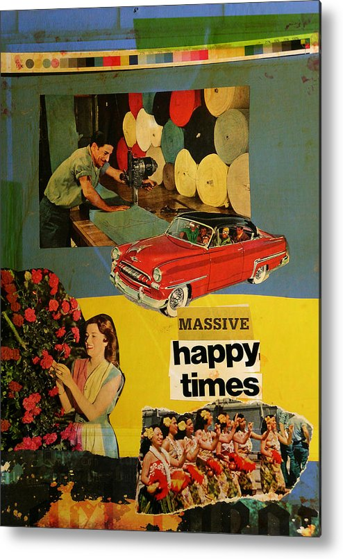 Collage Metal Print featuring the mixed media Massive Happy Times by Adam Kissel