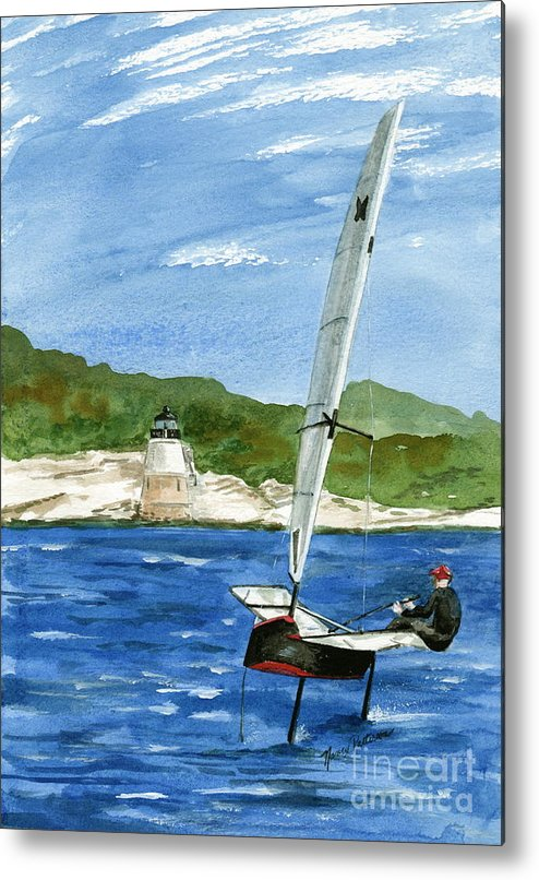 International Moth Class Sailboat Metal Print featuring the painting Moth Sailing At Castle Hill Light by Nancy Patterson