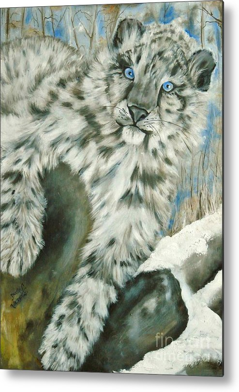 Snow Leopard Metal Print featuring the painting Ol Blue Eyes by Sandra Valentini