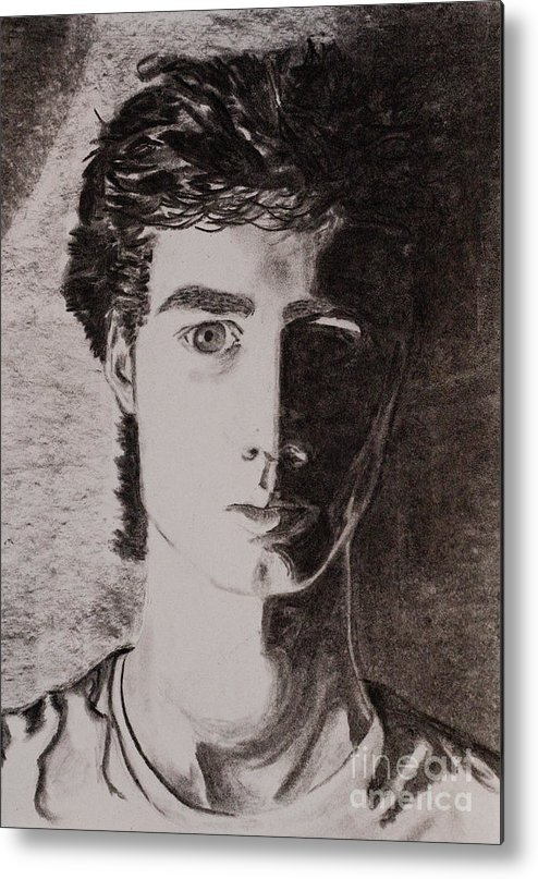 Charcoal Drawing Metal Print featuring the drawing Portrait by Tracy Pickett