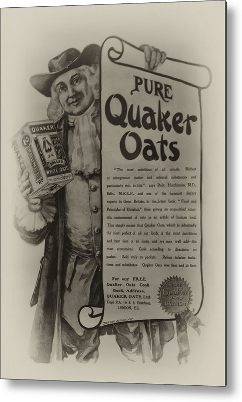 Pure Quaker Oates Metal Print featuring the photograph Pure Quaker Oates by Bill Cannon