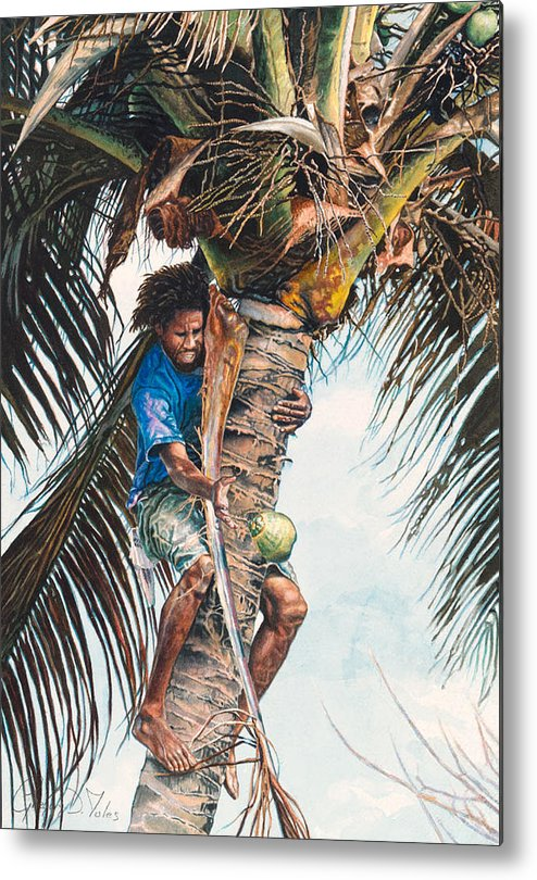 Tree Metal Print featuring the painting The Coconut Tree by Gregory Jules