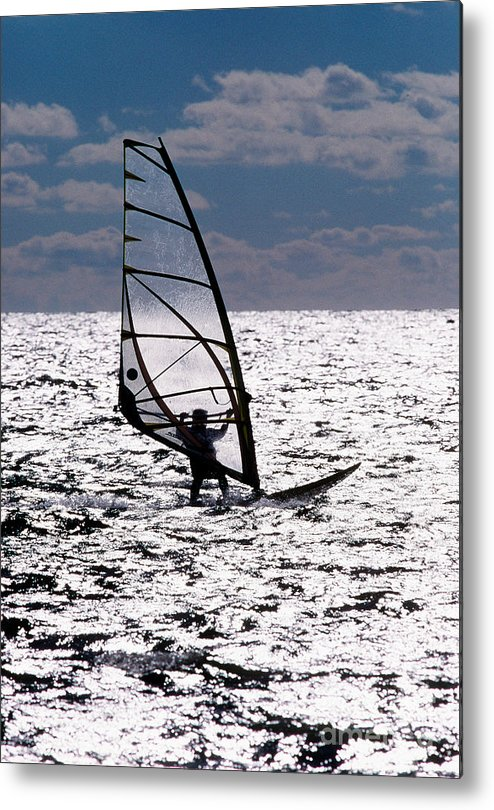 Cape Cod Metal Print featuring the photograph windsurfer rides the water at West Dennis Beach on Cape Cod by Matt Suess