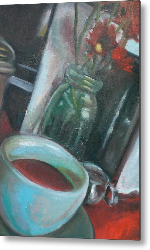 Diner Metal Print featuring the painting A Cup Of Joe by Aleksandra Buha