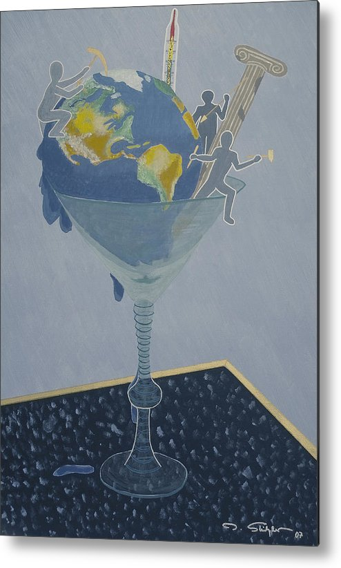 Earth Metal Print featuring the painting ... And Who Will Pay The Bill by Ingrid Stiehler