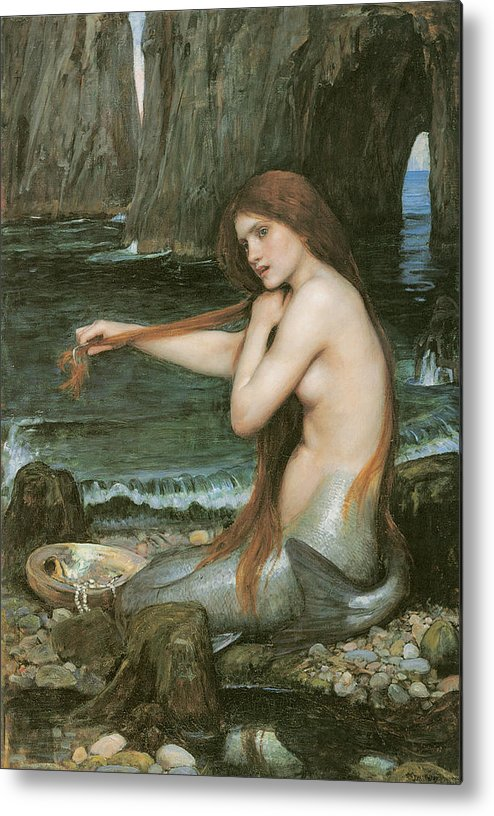 John William Waterhouse Metal Print featuring the painting A Mermaid by John William Waterhouse