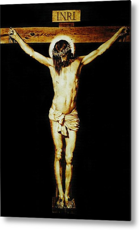 Dino Muradian Metal Print featuring the pyrography Christ On The Cross by Dino Muradian