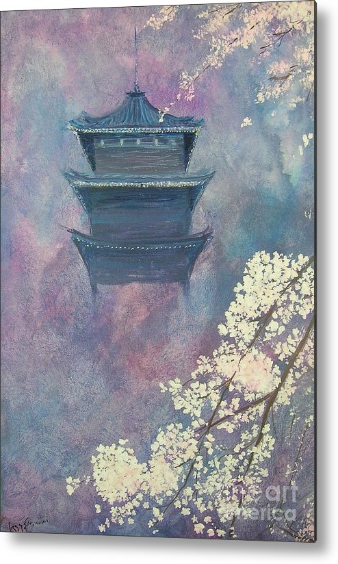 Landscape Japan Metal Print featuring the painting Japanese Spring Scene by Lizzy Forrester