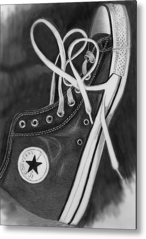 Shoe Metal Print featuring the drawing My Son's Chuck Taylor Converse Shoe by Carliss Mora