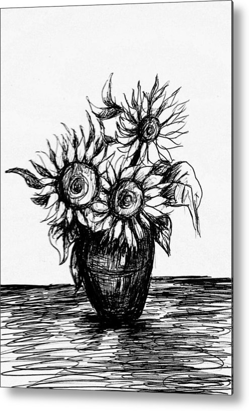 Sunflowers Metal Print featuring the drawing Sunflowers On Vase by Hae Kim