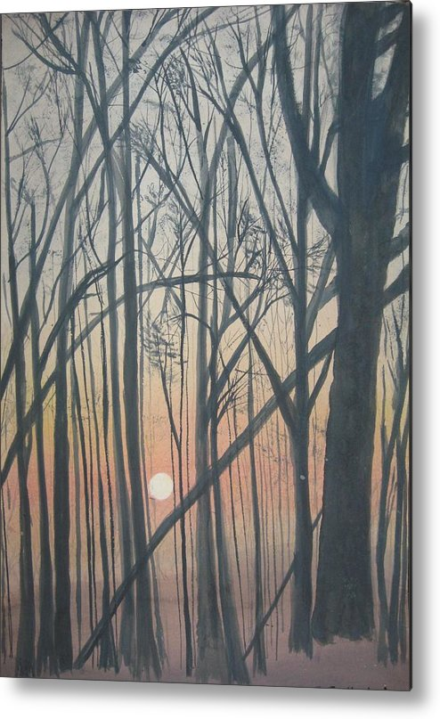 Trees Metal Print featuring the painting The Pines From The Treehouse by Sheryl Sutherland