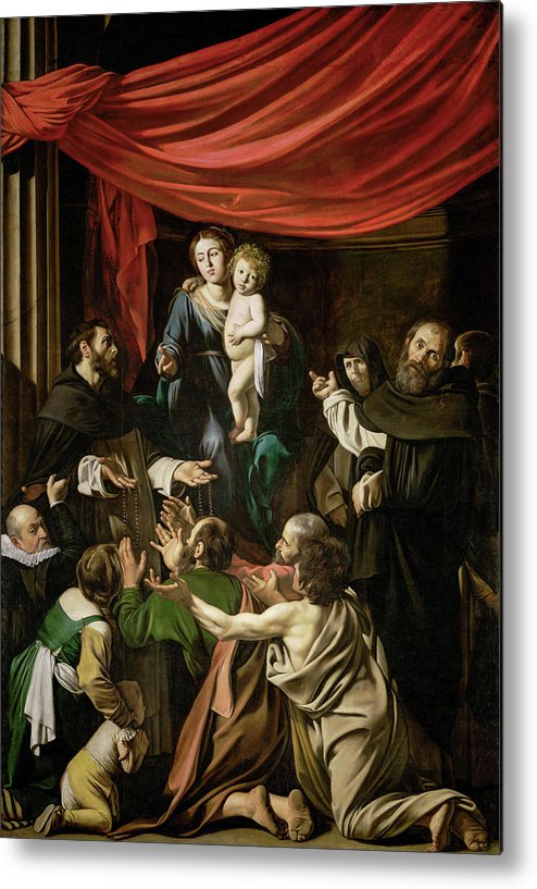 Amerighi Metal Print featuring the painting Madonna Of The Rosary by Caravaggio